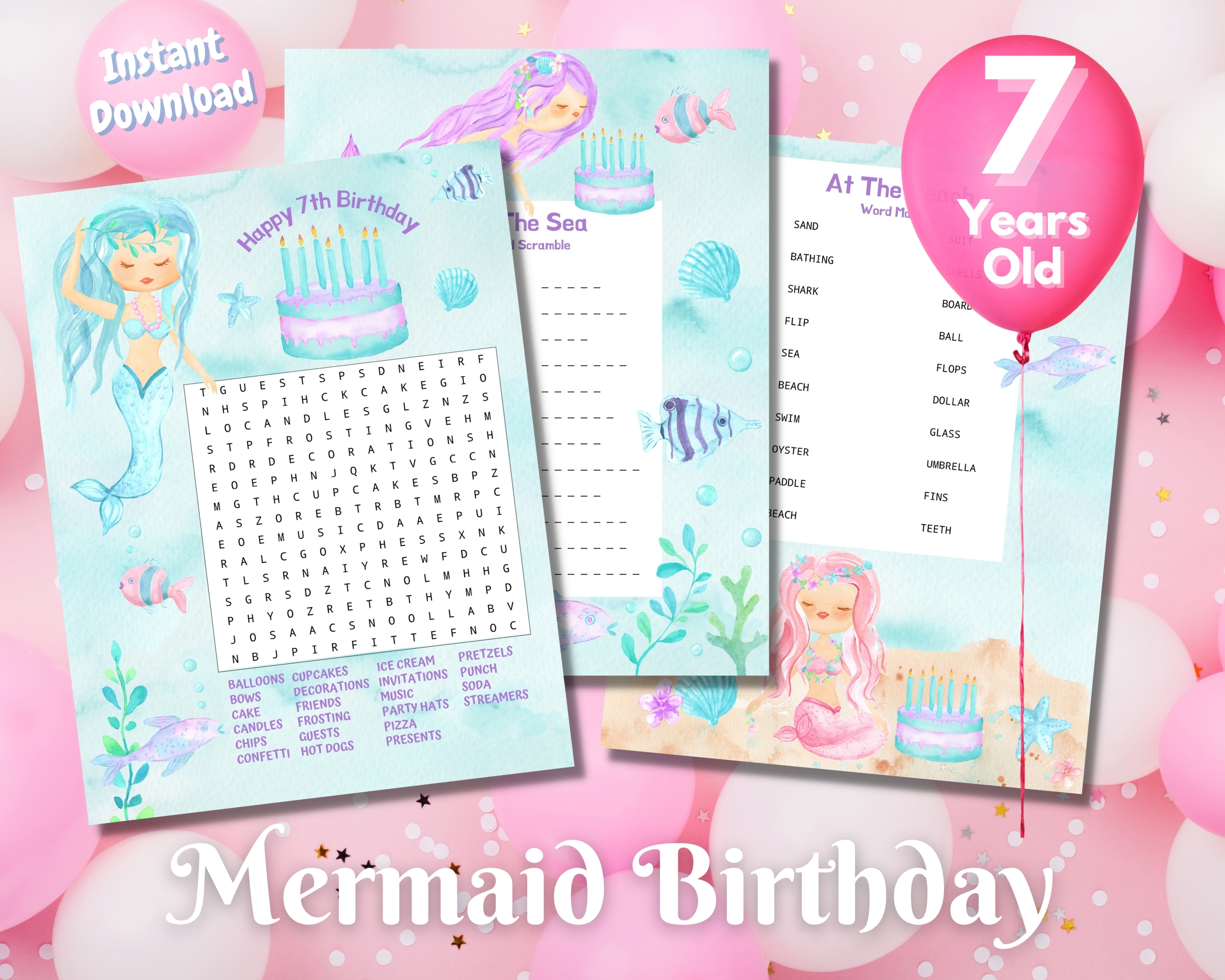 Seventh Mermaid Birthday Word Puzzles - Light Complexion
