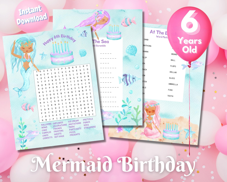 Sixth Mermaid Birthday Word Puzzles - Dark Complexion