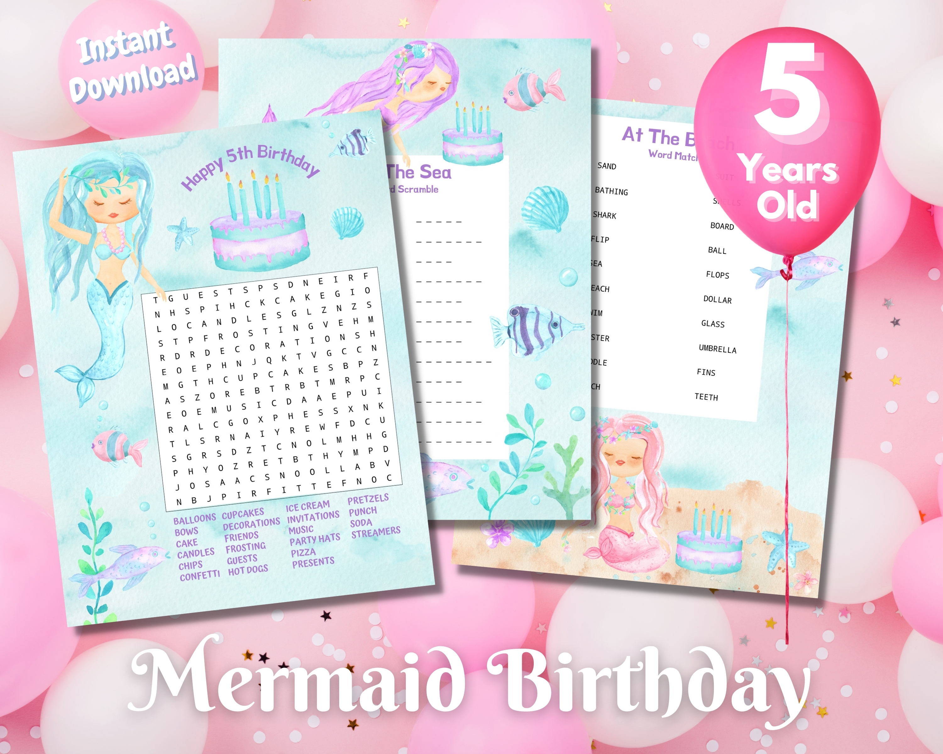 Fifth Mermaid Birthday Word Puzzles - Light Complexion