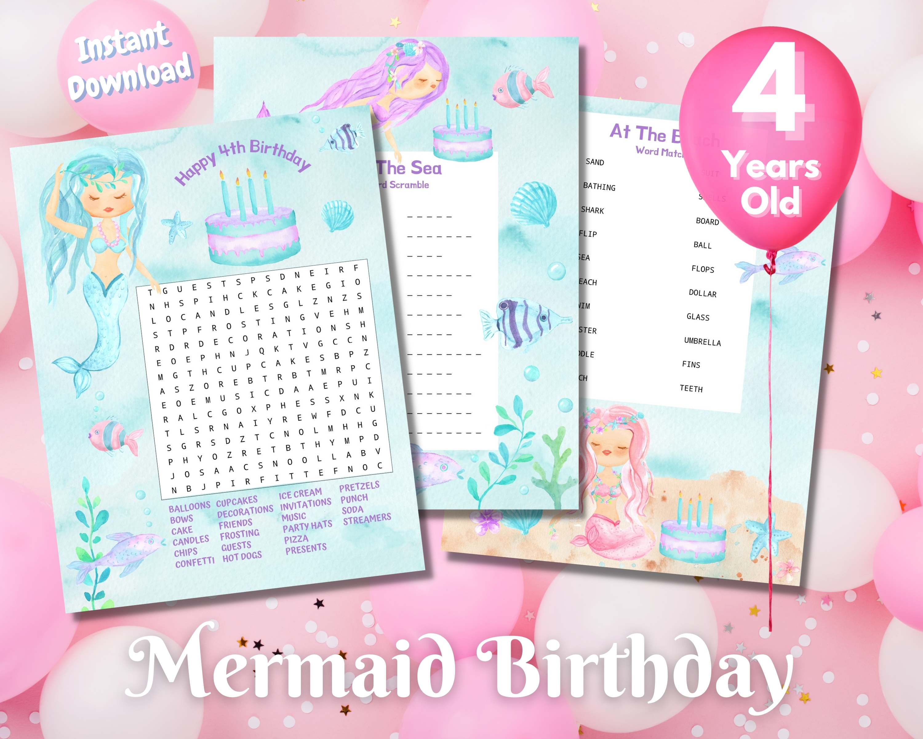 Fourth Mermaid Birthday Word Puzzles - Light Complexion
