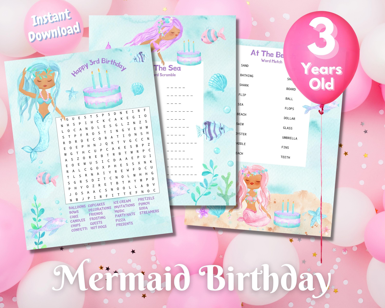 Third Mermaid Birthday Word Puzzles - Dark Complexion