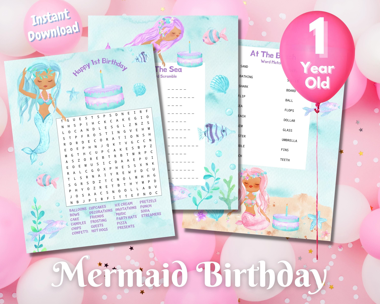 First Mermaid Birthday Word Puzzles - Dark Complexion