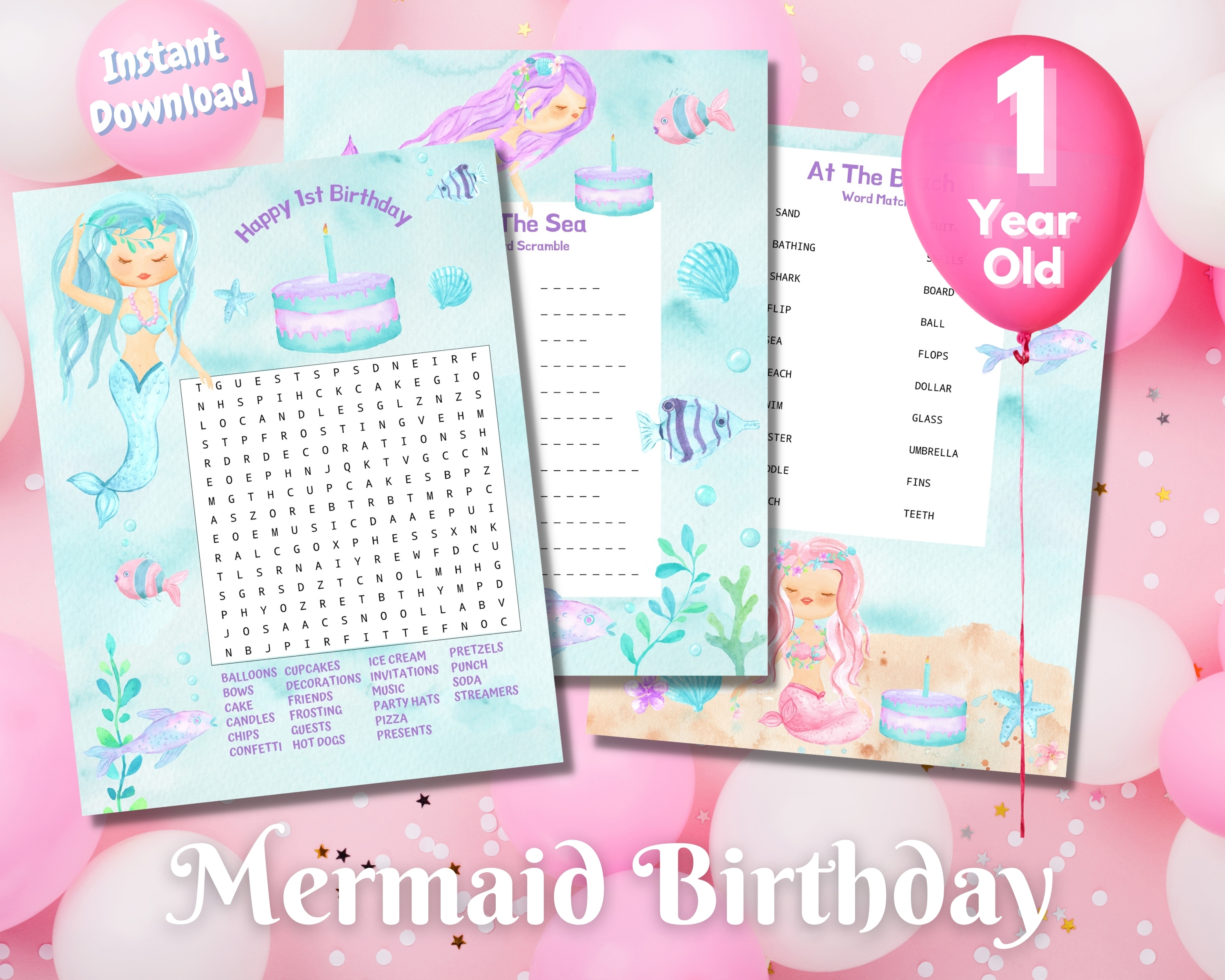 First Mermaid Birthday Word Puzzles - Light Complexion