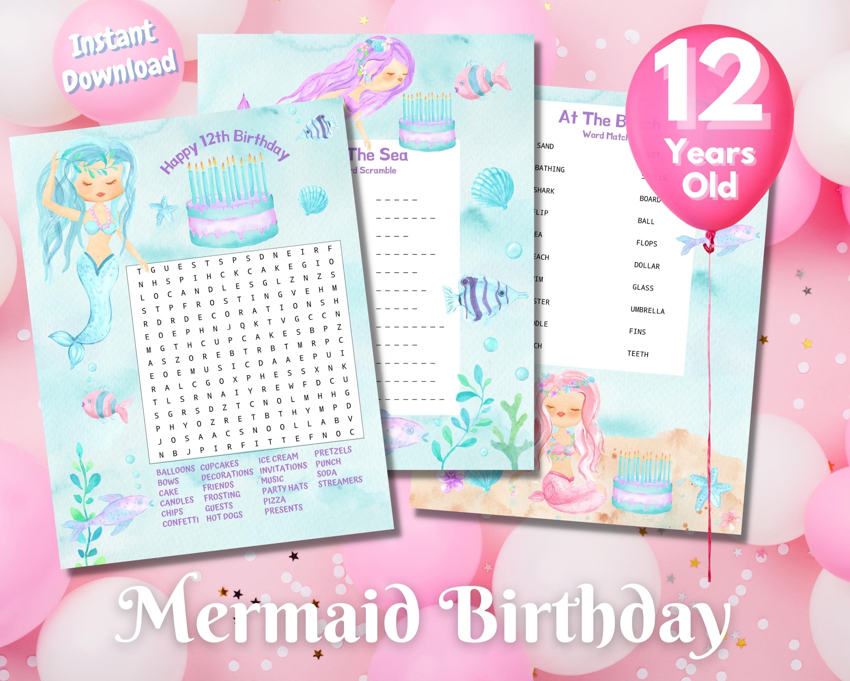 Twelfth Mermaid Birthday Word Puzzles - Light Complexion