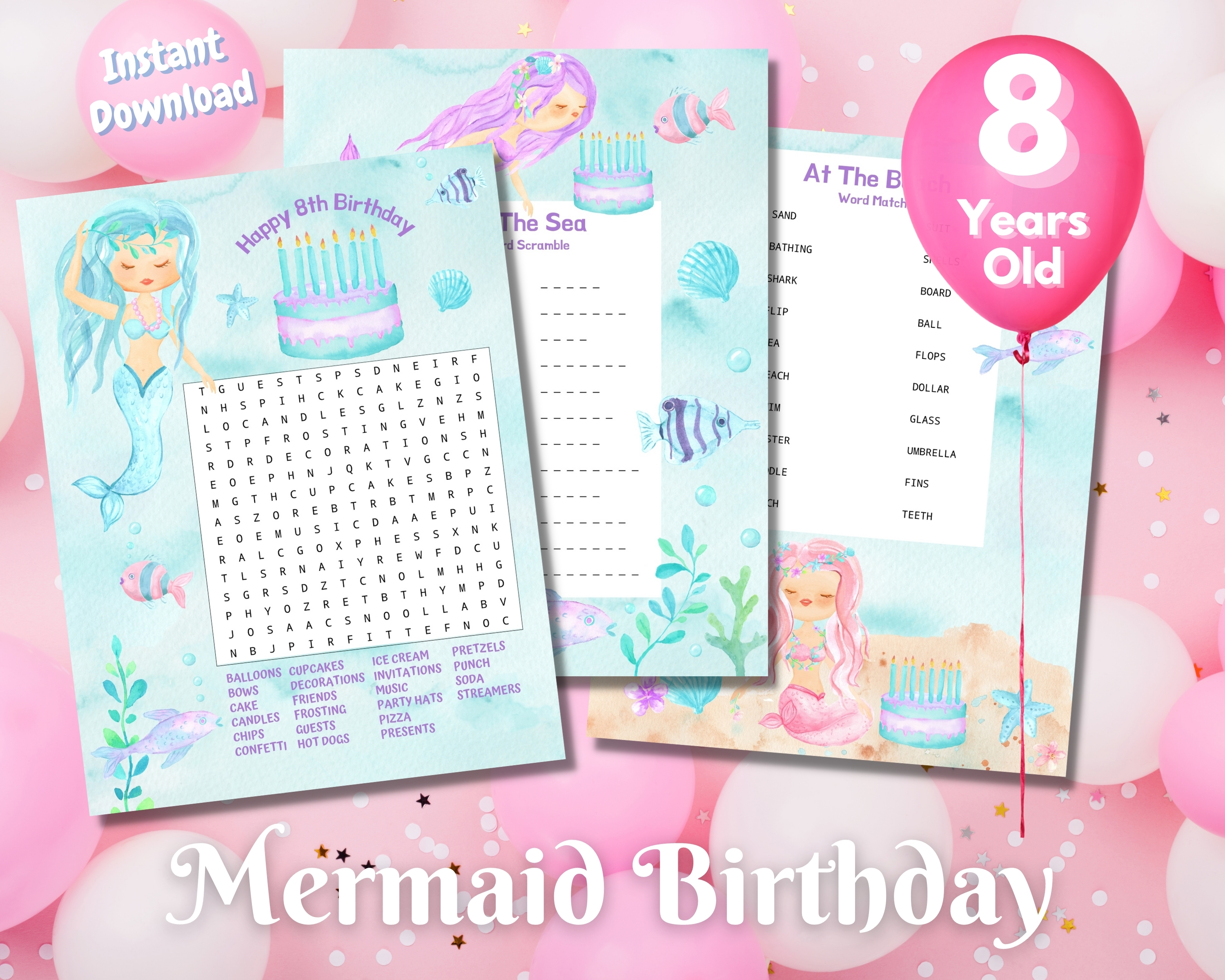 Eighth Mermaid Birthday Word Puzzles - Light Complexion