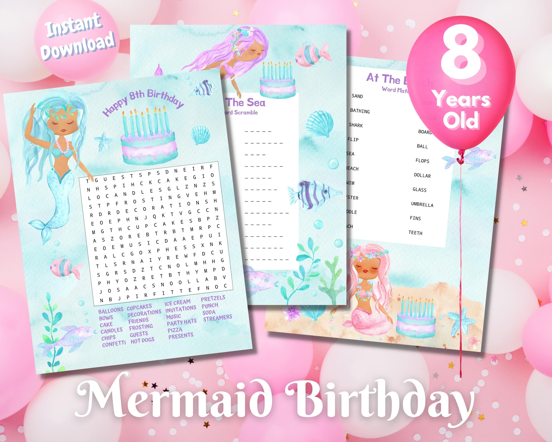 Eighth Mermaid Birthday Word Puzzles - Dark Complexion