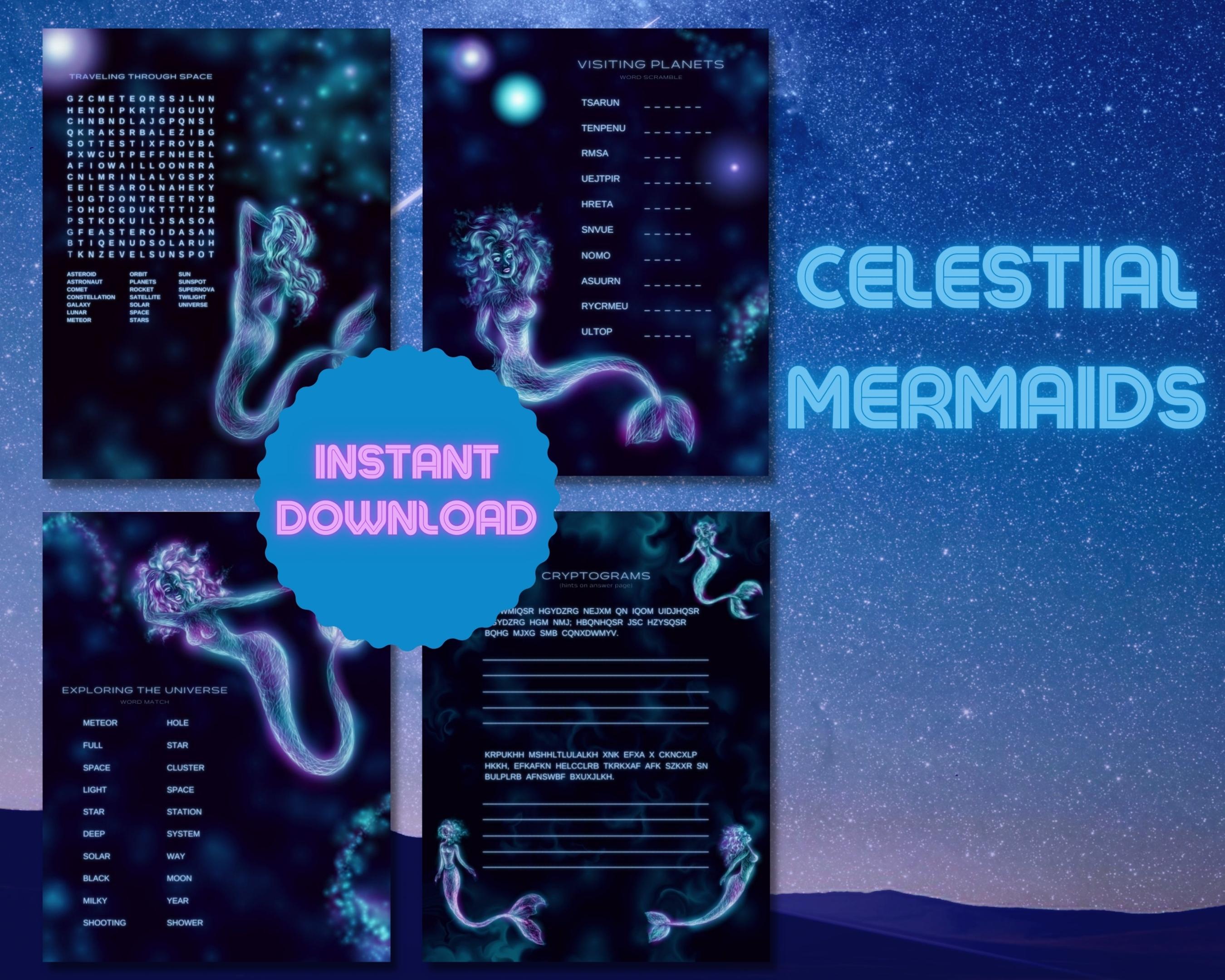 Celestial Mermaids Word Puzzles