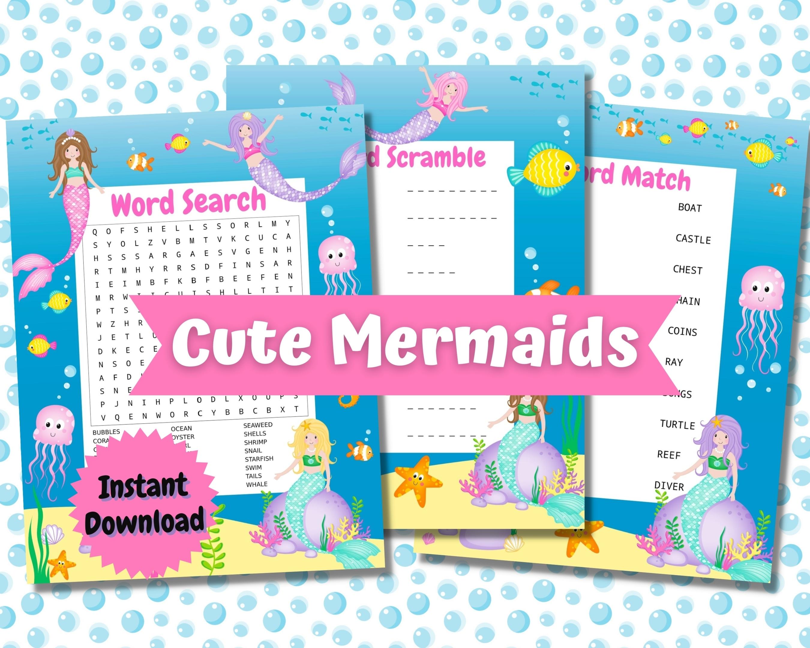 Cute Mermaids Word Puzzles
