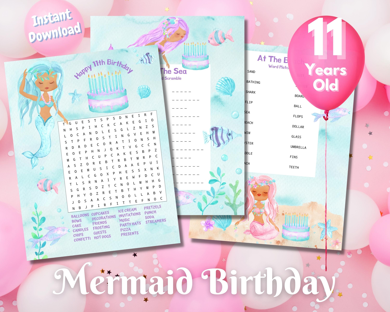 Eleventh Mermaid Birthday Word Puzzles - Dark Complexion