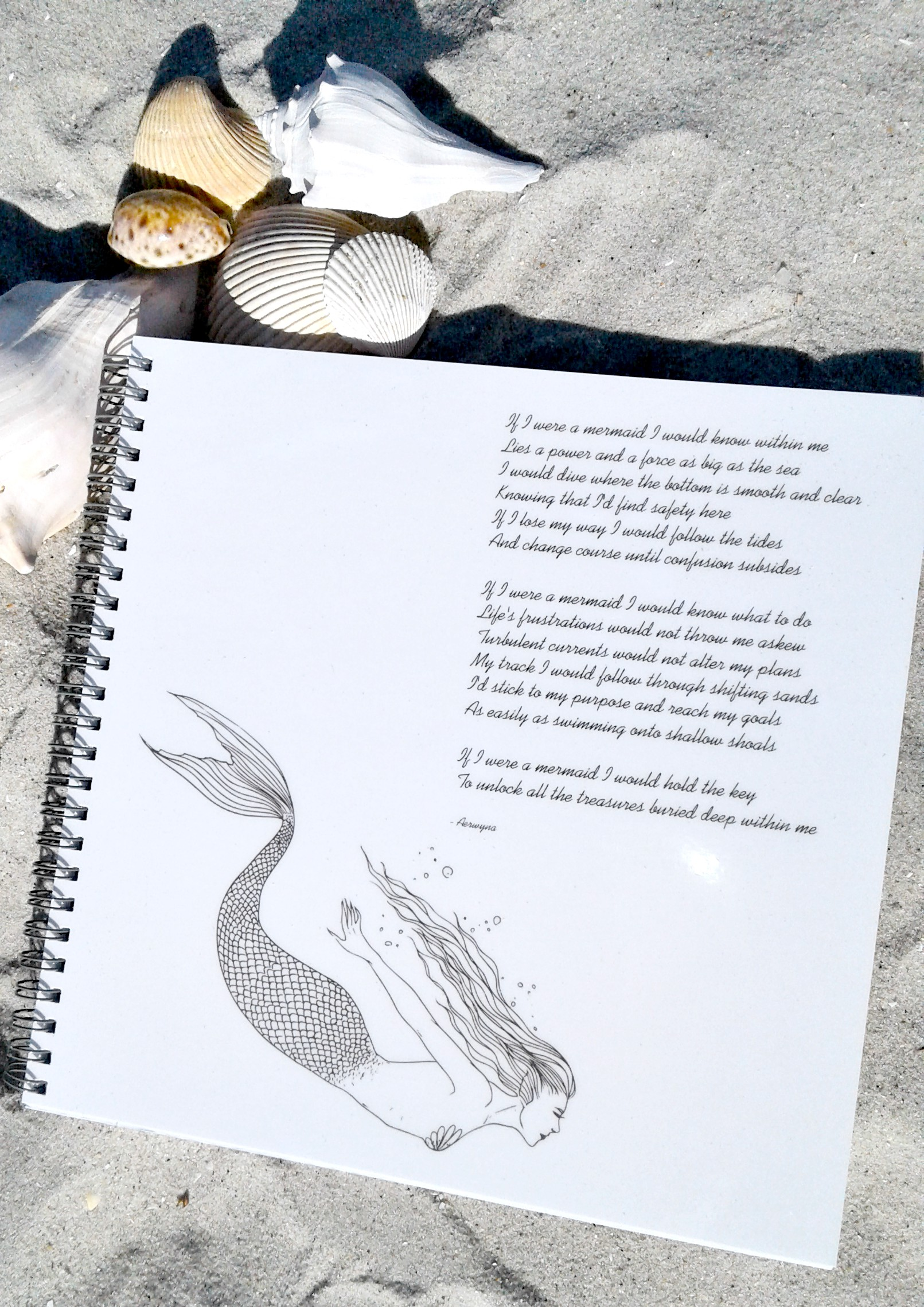 Mermaid Notebook With Poem