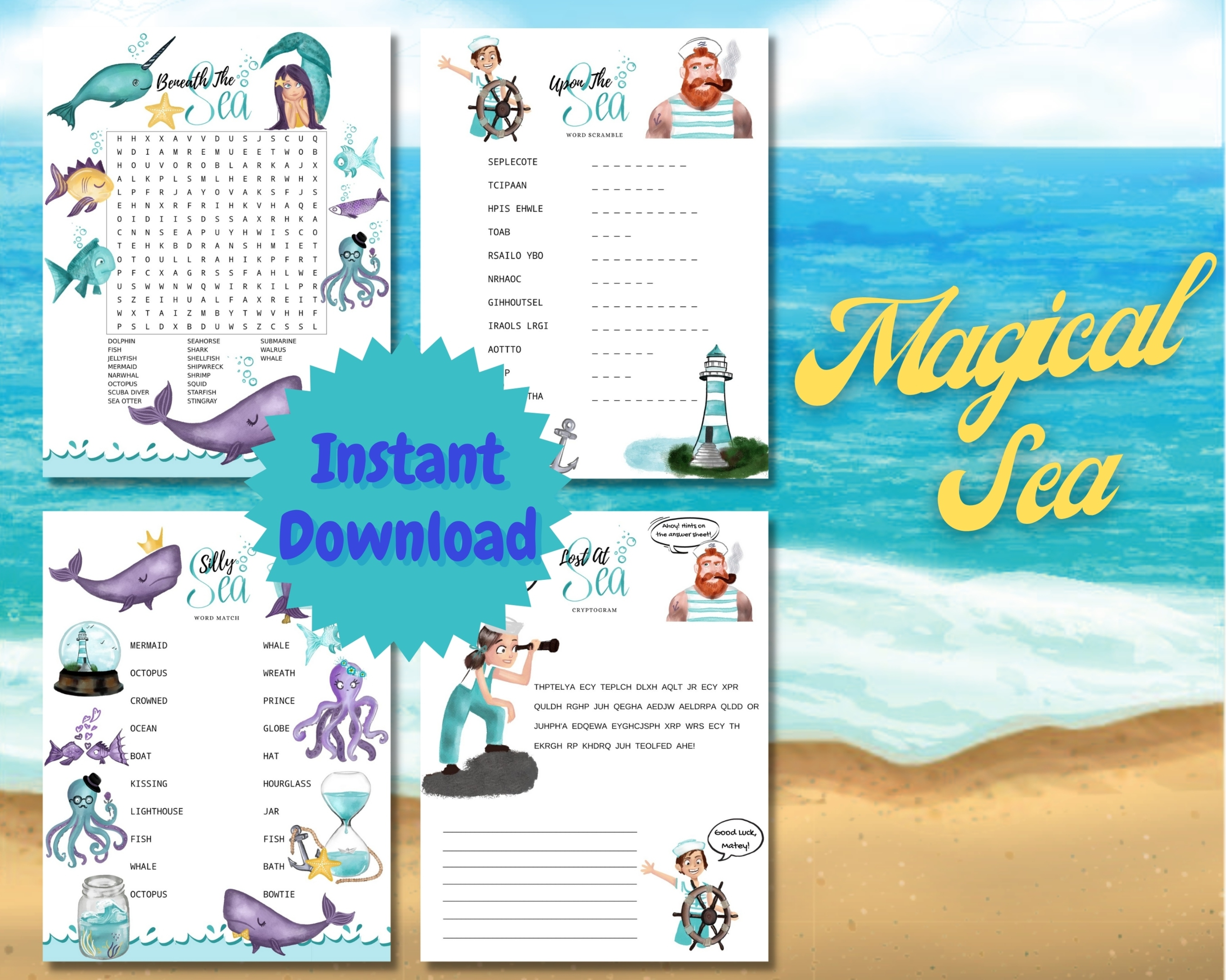 Magical Sea Word Puzzles