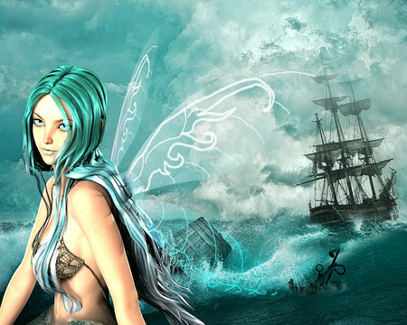 Mermaid Art Depicts A Siren And A Shipwreck