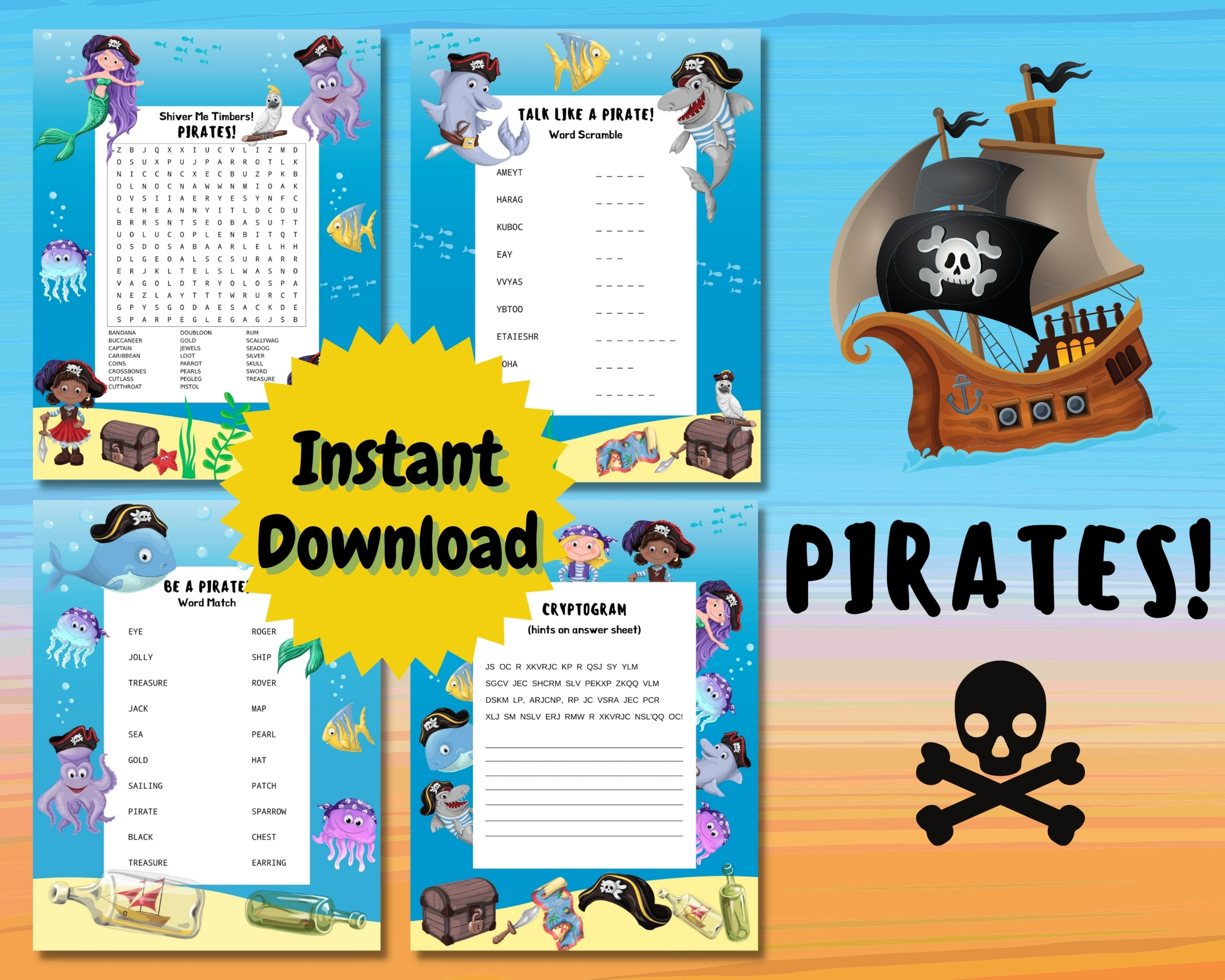 Mermaids And Pirates Word Puzzles