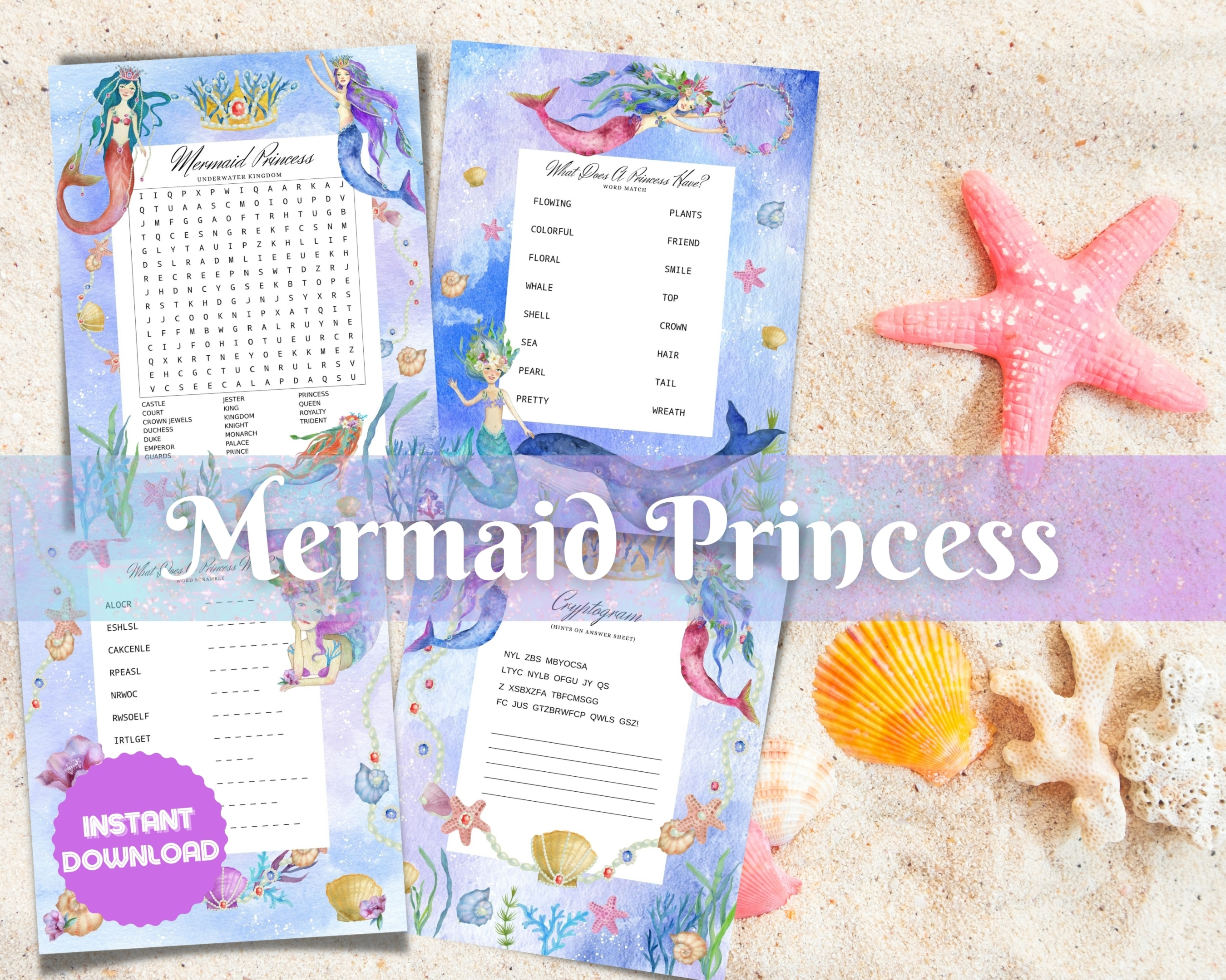 Mermaid Princess Word Puzzles