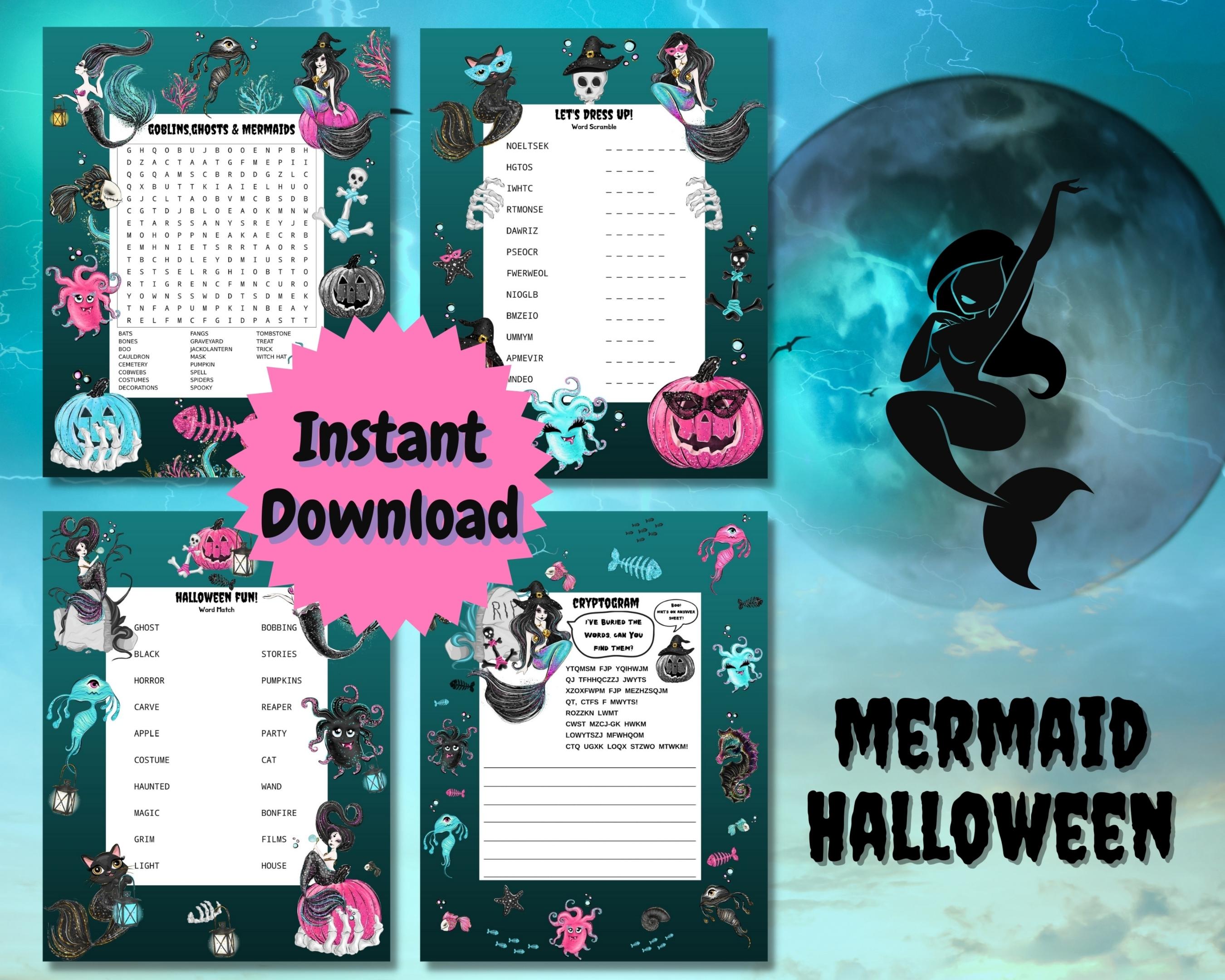 Mermaid Halloween Word Puzzles
